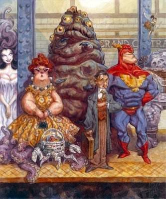 A funny illustration by Peter de Seve of various characters waiting for a train