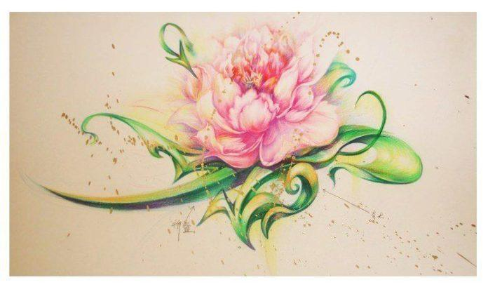 A graffiti lotus flower combines cultures in this unque street art work by Chinese artist Hua Tunan