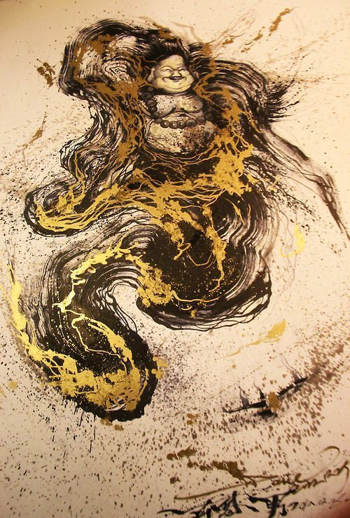A happy Buddha sits in a golden abstract throne in this unusual painting by Chinese artist Hua Tunan