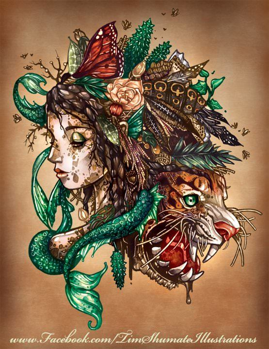 A mermaid and a tiger merge in this illustrated art collage by Tim Shumate