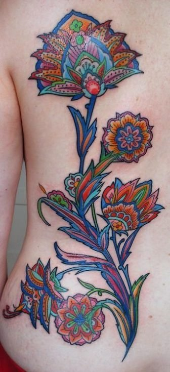 A paisley inspired tattoo design by Barbara Swingaling of brightly colored flowers