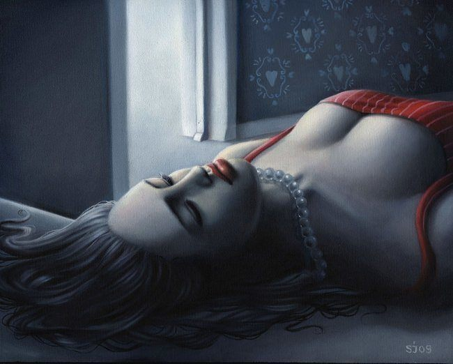 A sensual moonlight painting by Sarah JOncas of a girl lying dead on the floor
