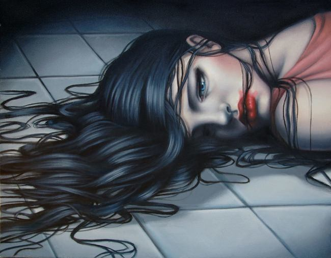 A sexy and macabre painting of a girl lying dead on a tiled floor by sarah Joncas