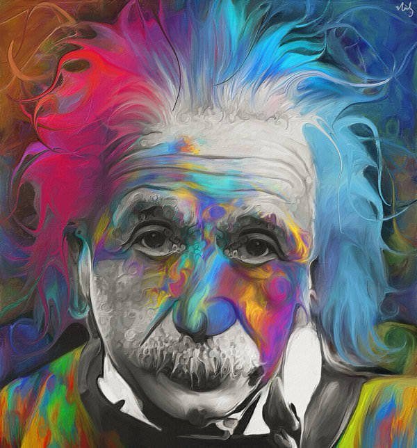Albert Einstein gets a rainbow hairdo in this colorful fan art painting by Nicky Barkla