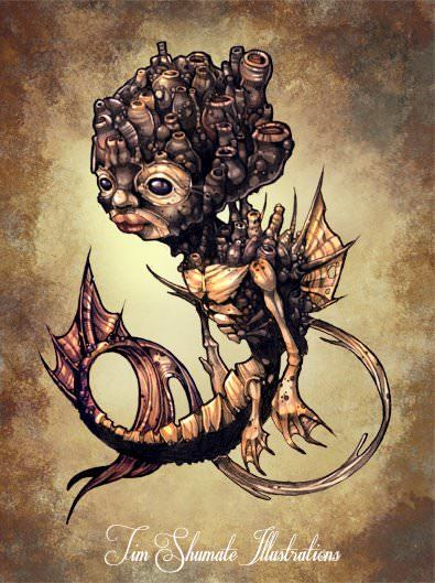 An illustration of a strangely cute seahorse alien character by Tim Shimute