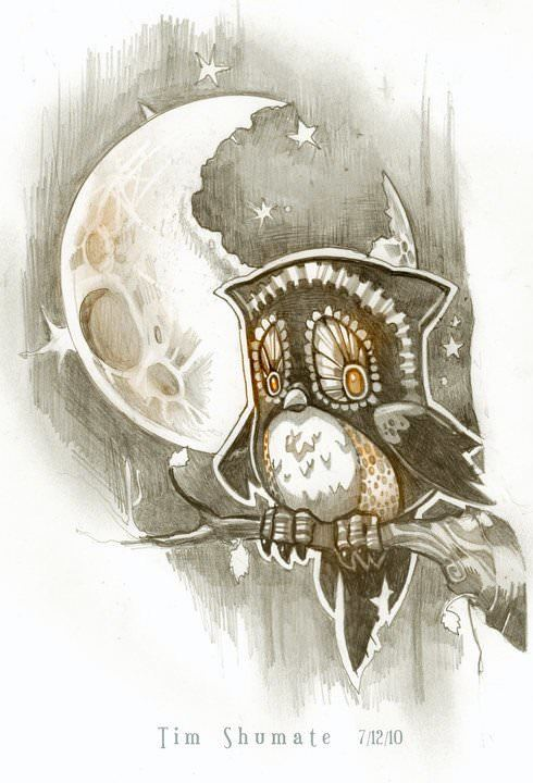 An owl gets a bellyache after chewing on the moon in this illustration by Tim Shumate