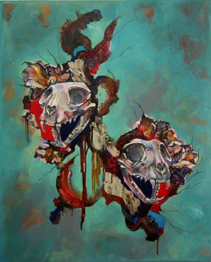 Animal skulls break through from another dimension in this abstract painting by Shann Larsson