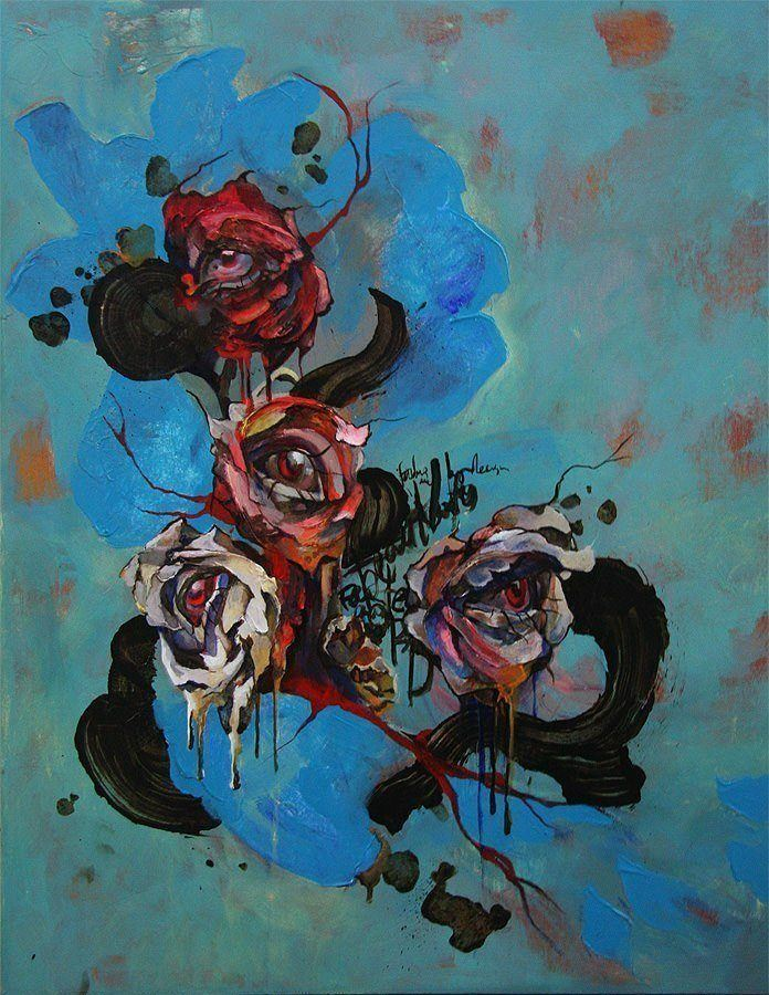 Beautiful human eyes peek out of rose flowers in this abstract painting by Shann Larsson