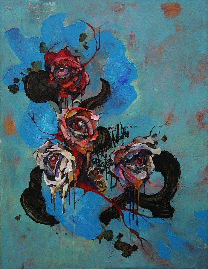 Beautiful human eyes peek out of rose flowers in this for Creative abstract painting