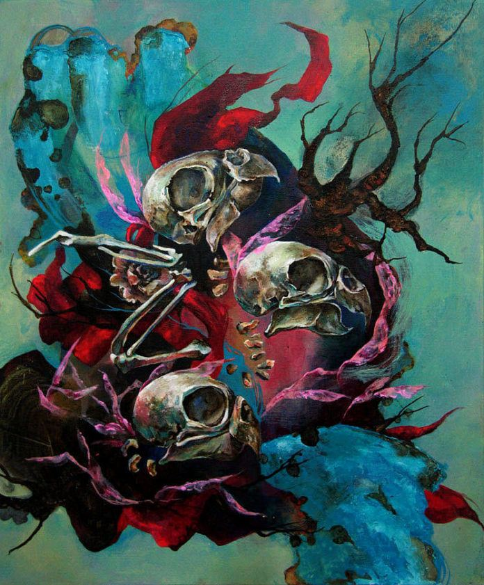 Bird skulls and branches dance in this abstract surrealist painting by Shann Larsson