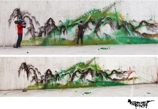 Chinese graffiti artist Hua Tunan adds the finishing touches to a splatter graffiti art work