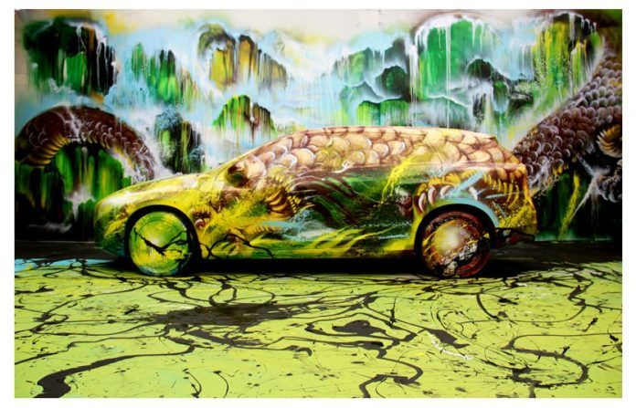 Chinese graffiti artist Hua Tunan turns a volvo into a dragon in this art installation