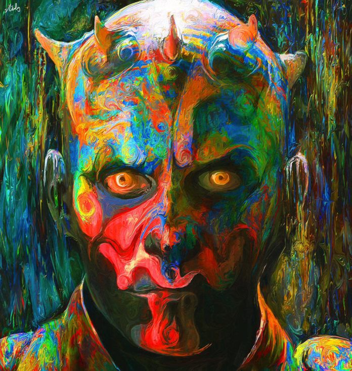 Darth Maul aint so scary in this colorful fan art painting by nicky Barkla
