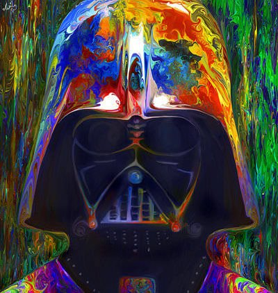 Darth Vader gets a trippy makeover in this colorful painting by Nicky Barkla