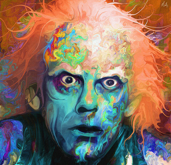 Doc from Back to the Future gets a colorful makeover in this fan art painting by Nicky Barkla