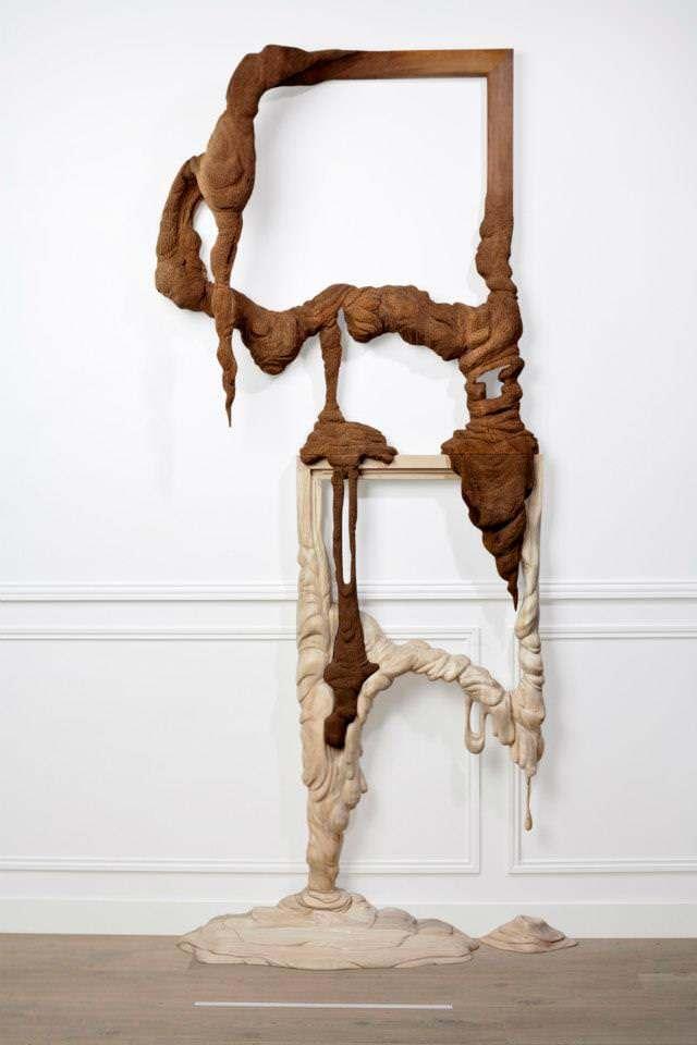 French artists Bonsoir Paris sculpt melting wooden picture frames to create 3D surrealist art