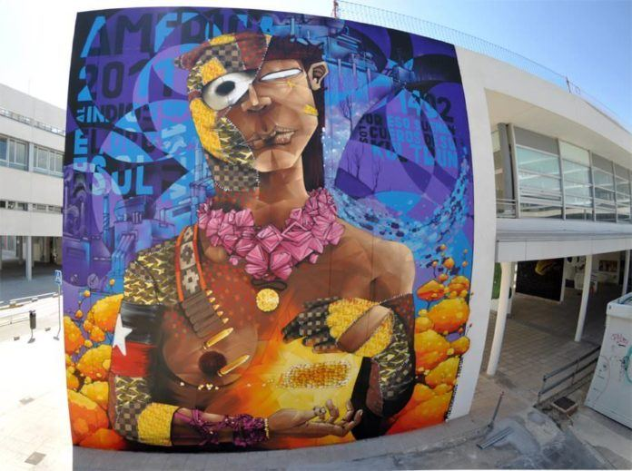 Graffiti artist Inti combines symbols and art styles in this half nude street art painting