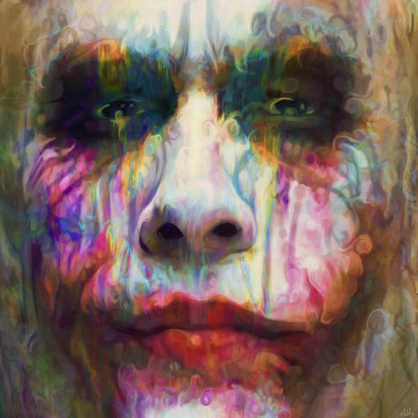 Heath Ledger as the Joker, painted in psychedelic colors and patterns by Nicky Barkla