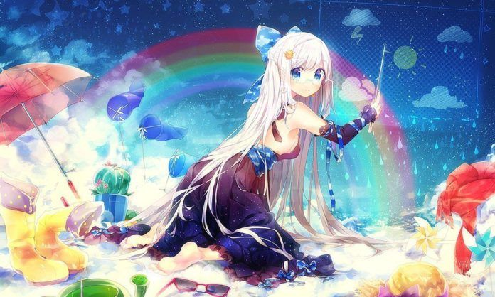 In todays weather, rainbows, cute manga girls and star shine. Photoshop art by Namie-kun