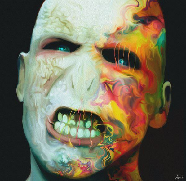 Lord Voldemort becomes a colorful character in this fan art painting by Nicky Barkla