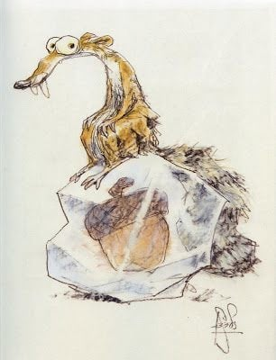 One of the character design for the Ice Age character Scrat by Peter de Seve