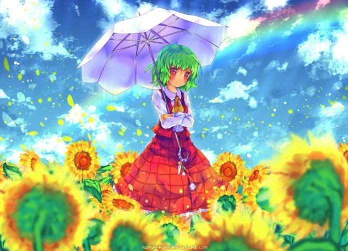 Photoshop artist Namie-kun paints a cute manga girl holding an umbrella in a field of sunflowers