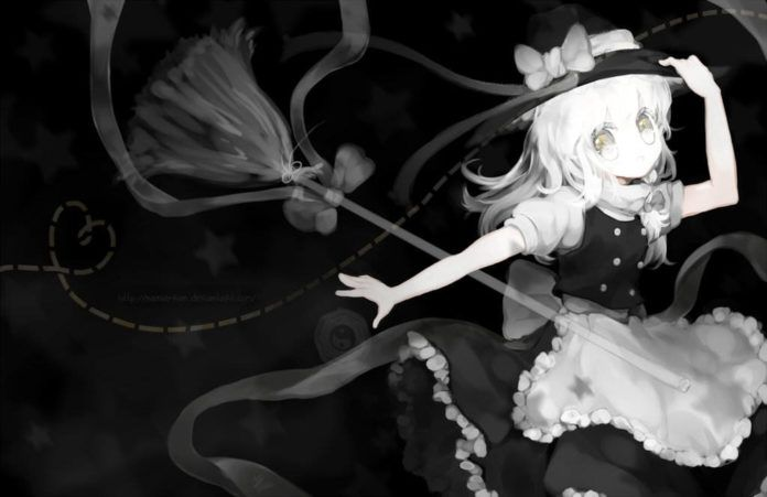 Photoshop artist Namie-kun paints a naughty black witch in a manga style