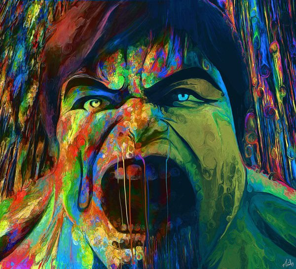 The incredible hulk gets a new color scheme in this trippy fan art painting by Nicky Barkla