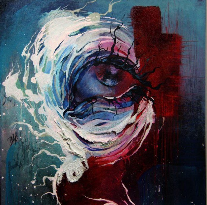 This sad eye seems to have roots for eyelashes in this abstract painting by Shann Larsson