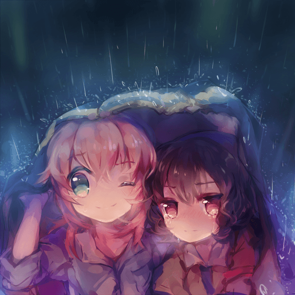 Two cute manga girls shelter from the rain in this Photoshop painting by Namie-kun