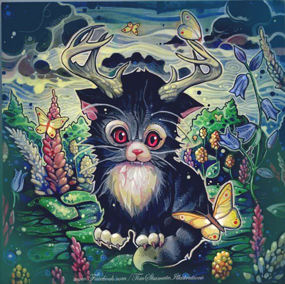 a cute kitten with antlers stares at butterflies in this painting by Tim Shumate