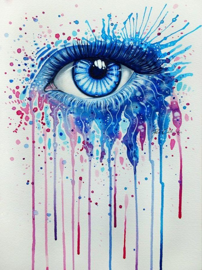 A beautiful blue eye peers out of this splashy watercolor painting by Svenja Jodicke