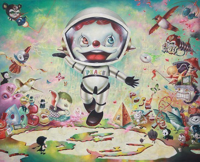 A cute cartoon character wears a peace suit in this pop surrealism painting by Yosuke Ueno