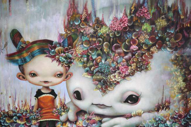 A cute girl and her pet wear alien coral in this pop surrealism painting by Yosuke Ueno