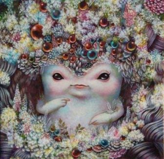 A cute little beastie sits in a beautiful alien garden in this surrealist painting by Yosuke Ueno