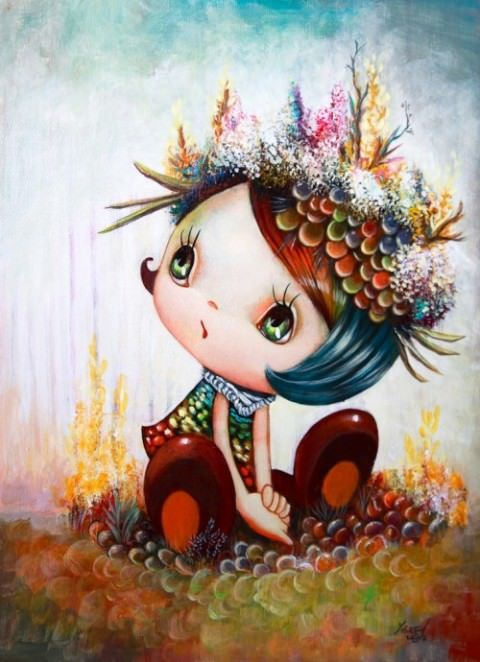 A cute little girl wears coral in this cartoon pop surrealism painting by Yosuke Ueno