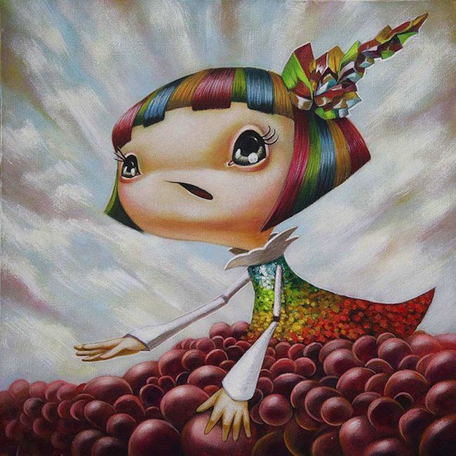 A cute pop surrealism painting by Yosuke Ueno of a girl with rainbow hair