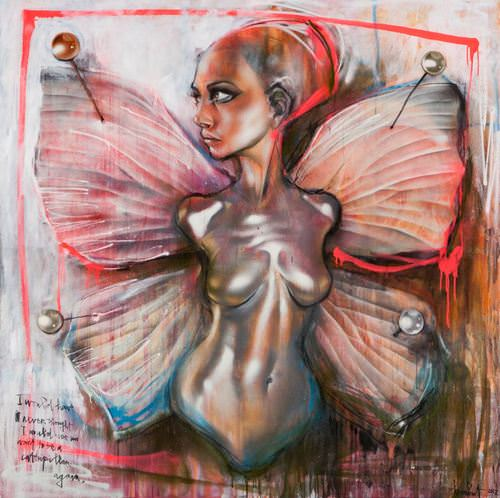 A fairy girl is pinned to a display board like a butterfly in this painting by herakut