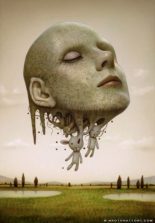 A floating head melts into bunny rabbits in this surrealist painting by Naoto Hattori