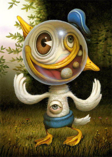 A funny surrealist painting by Naoto hattori in which Donald Duck egst a makeover