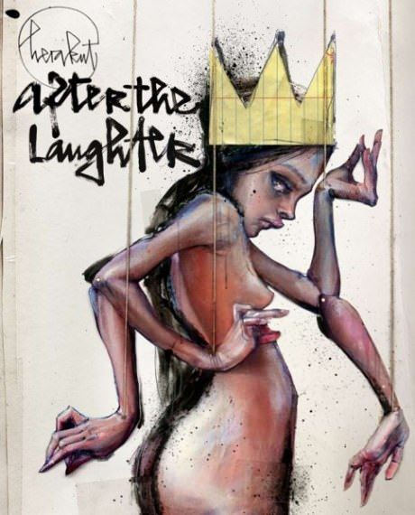 A girl with a golden crown poses as a puppet with many arms in this graffiti painting by Herakut
