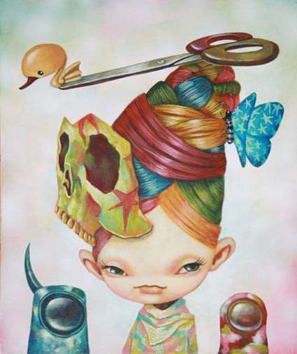 A girl with rainbow hair wears a skull and scissors in this pop surrealism painting by Yosuke Ueno