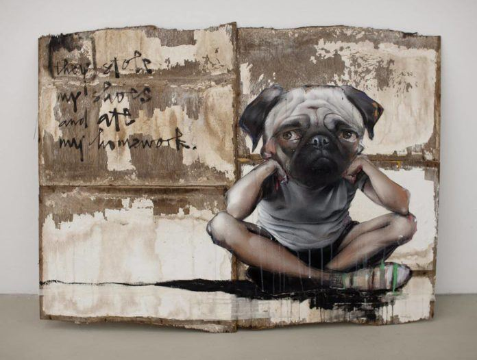 A kid with a pug dog head says they stole his shoes and ate his homework in this painting by Herakut