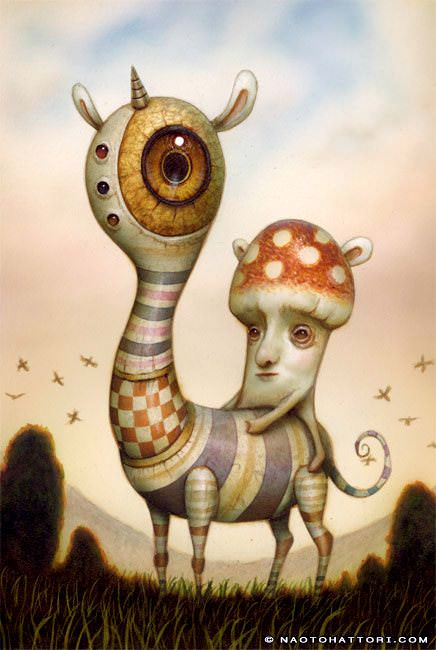 A mushroom man rides a bizarre animal in this surrealist painting by Naoto Hattori