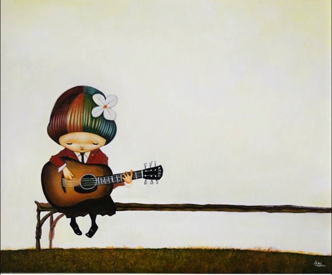 A pop surrealism painting by Yosuke Ueno of a school girl with rainbow hair playing guitar