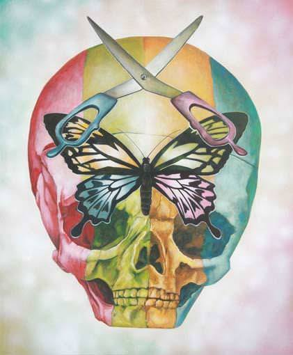 A rainbow skull wears scissors and a butterfly in this pop surrealism painting by Yosuke Ueno