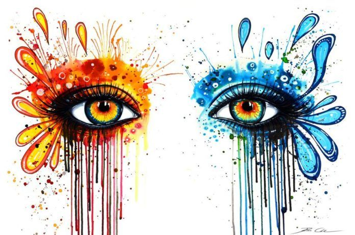 A splashy watercolor painting of beautiful eyes by German painter Svenja Jodicke