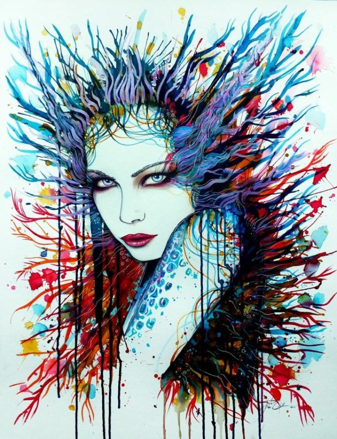 A sultry woman challenges the viewer in this sexy watercolor painting by Svenja Jodicke