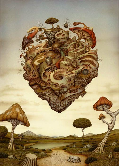 A trippy heart made out of mushrooms floats in this surrealist painting by Nato Hattori