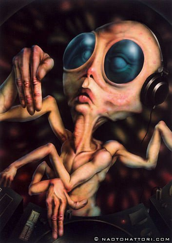 An alien DJ with four arms spins the decks in this surrealist painting by Naoto Hattori